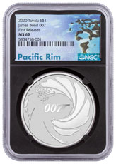 2020 Tuvalu James Bond 1 oz Silver $1 Coin NGC MS69 FR Pacific Rim Label