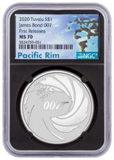 2020 Tuvalu James Bond 1 oz Silver $1 Coin NGC MS70 FR Pacific Rim Label