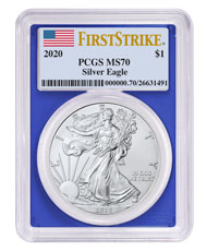 2020 1 oz American Silver Eagle $1 Coin PCGS MS70 FS With Blue Frame Flag Label