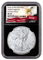 2020-(W) 1 oz Silver American Eagle Struck at West Point Mint NGC MS70 FDI Exclusive Eagle Label