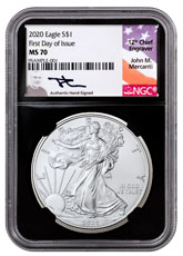 2020 1 oz American Silver Eagle $1 Coin NGC MS70 FDI Black Core Holder Mercanti Signed Label