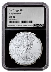 2020 1 oz American Silver Eagle $1 Coin NGC MS70 ER Black Core Holder Silver Foil Label