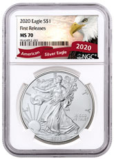 2020 1 oz American Silver Eagle $1 Coin NGC MS70 FR Exclusive Eagle Label