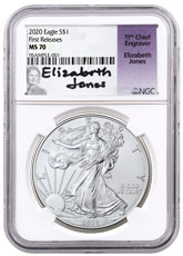 2020 1 oz American Silver Eagle $1 Coin NGC MS70 FR Jones Signed Label