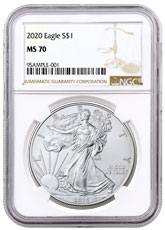 2020 1 oz American Silver Eagle $1 Coin NGC MS70 Brown Label