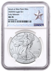 2020-(W) 1 oz Silver American Eagle Struck at West Point Mint NGC MS70 ER West Point Silver Star Label
