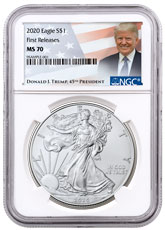 2020 1 oz American Silver Eagle $1 Coin NGC MS70 FR Trump Label
