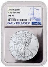 2020 1 oz American Silver Eagle $1 Coin NGC MS70 ER Silver Core Holder Early Release Label