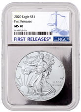 2020 1 oz American Silver Eagle $1 Coin NGC MS70 FR Silver Core Holder First Releases Label