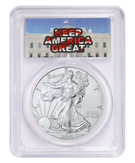 2020 1 oz American Silver Eagle $1 Coin Keep America Great PCGS MS70 FS Trump Label