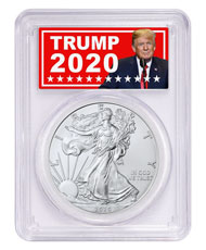 2020 1 oz American Silver Eagle $1 Coin PCGS MS70 FDI Trump 2020 Label