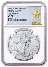 2020-(W) 1 oz Silver American Eagle Struck at West Point Mint NGC MS70 ER West Point Gold Star Label