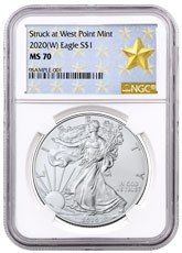 2020-(W) 1 oz Silver American Eagle Struck at West Point Mint NGC MS70 West Point Gold Star Label