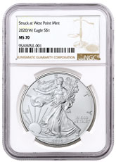 2020-(W) 1 oz Silver American Eagle Struck at West Point Mint NGC MS70 Brown Label