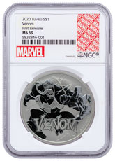 2020 Tuvalu Venom 1 oz Silver Marvel Series $1 Coin NGC MS69 FR Marvel Label