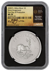 2020 South Africa 1 oz Silver Krugerrand R1 Coin Scarce and Unique Coin Division NGC MS70 First Day of Production Black Core Holder Tumi Signature Label