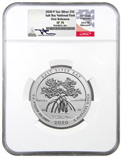 2020-P Salt River Bay NP and Ecological Preserve 5 oz. Silver America the Beautiful Specimen Coin NGC SP70 FR Exclusive Mercanti Signed Label
