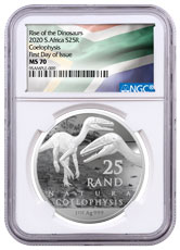 2020 South Africa 1 oz Silver Natura R25 Coin NGC MS70 FDI South African Flag Label