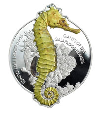 2020 Solomon Islands $2 1 oz Silver Giants of the Galapagos Giant Seahorse Shaped Reverse Proof Coin GEM Proof OGP