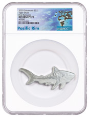 2020 Solomon Islands Hunters of the Deep - Tiger Shark Shaped 1 oz Silver Reverse Proof $2 Coin NGC PF70 UC FR Exclusive Pacific Rim Label