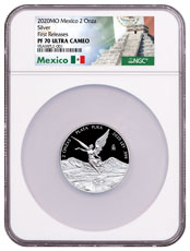 2020-Mo Mexico 2 oz Silver Libertad Proof Onza Coin NGC PF70 FR Exclusive Mexico Label