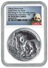 2020 China Smithsonian Panda 20th Anniversary 2 oz Silver Proof Medal Scarce and Unique Coin Division NGC PF70 UC FDI