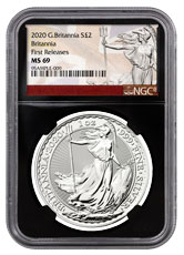 2020 Great Britain Silver Britannia 1 oz Silver £2 Coin NGC MS69 FR Black Core Holder Britannia Label