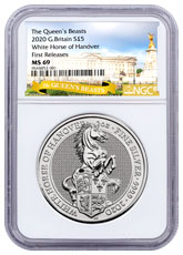 2020 Great Britain 2 oz Silver Queen's Beasts White Horse of Hanover £5 Coin NGC MS69 FR