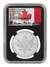 2020-W Canada 1 oz Silver Maple Leaf Burnished $5 Coin Scarce and Unique Coin Division NGC MS70 FDI Black Core Holder Exclusive Taylor Signed Label