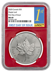 2020 Canada 1 oz Silver Maple Leaf $5 Coin NGC MS69 FDI Red Core Holder 1st Day Label