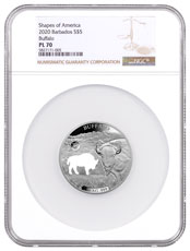 2020 Barbados Shapes of America - Cut-Out High Relief 1 oz Proof-Like Silver $5 Coin Buffalo NGC PL70