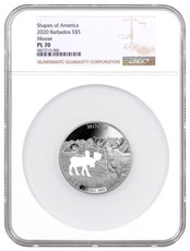 2020 Barbados Shapes of America - Cut-Out High Relief 1 oz Proof-Like Silver $5 Coin Moose NGC PL70