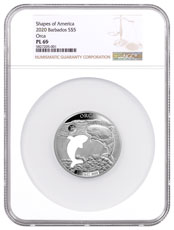 2020 Barbados Shapes of America - Cut-Out High Relief 1 oz Proof-Like Silver $5 Coin Orca NGC PL69