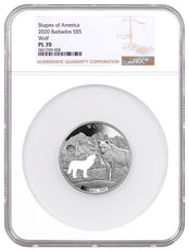 2020 Barbados Shapes of America - Cut-Out High Relief 1 oz Proof-Like Silver $5 Coin Wolf NGC PL70
