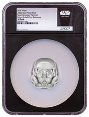 2020 Niue Star Wars - Stormtrooper Helmet shaped Ultra High Relief 2 oz Silver Frosted $5 Coin NGC MS69 FR Black Core Holder Exclusive Star Wars Label