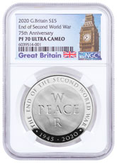 2020 Great Britain End of WWII - 75th Anniversary 28.28 g Silver Proof £5 Coin NGC PF70 UC OGP Big Ben Label