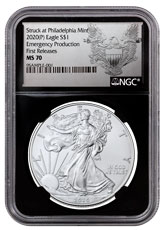 2020-(P) 1 oz Silver American Eagle Struck at Philadelphia $1 Coin NGC MS70 FR Black Core Holder Exclusive Heraldic Eagle Label