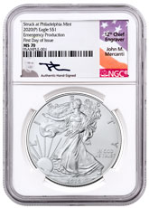 2020-(P) 1 oz Silver American Eagle Struck at Philadelphia $1 Coin Scarce and Unique Coin Division NGC MS70 FDI Mercanti Signed Label