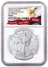 2020-(S) 1 oz American Silver Eagle Struck at San Francisco Mint Emergency Production NGC MS69 FR Exclusive Eagle Label
