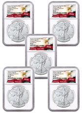 5-Pack - 2020-(S) 1 oz American Silver Eagle Struck at San Francisco Mint Emergency Production NGC MS69 FR Exclusive Eagle Label