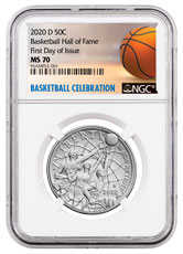 2020-D Basketball Hall of Fame Commemorative Clad Half Dollar Coin NGC MS70 FDI