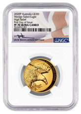 2020-P Australia 1 oz High Relief Gold Wedge-Tailed Eagle Proof $100 Coin Scarce and Unique Coin Division NGC PF70 UC FDI Mercanti Signed Flag Label