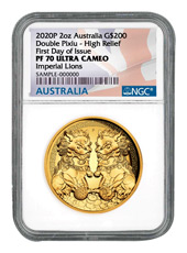 2020-P Australia $200 2 oz Gold Double Pixiu Forbidden City Imperial Lion High Relief Proof Coin Scarce and Unique Coin Division NGC PF70 UC FDI