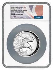 2020-P Australia 10 oz High Relief Silver Wedge-Tailed Eagle Proof $10 Coin Scarce and Unique Coin Division NGC PF70 UC FDI Mercanti Signed Flag Label