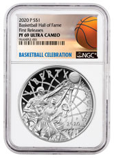 2020-P $1 Basketball Hall of Fame Silver Dollar Proof Coin NGC PF69 FR