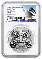 2020-P Australia Double Pixiu Forbidden City Imperial Lion 1 oz Silver $1 Coin NGC MS70 FR
