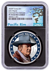 2020 Tuvalu John Wayne 1 oz Silver Proof $1 Coin NGC PF70 UC FR Black Core Holder Pacific Rim Label