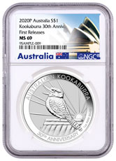 2020-P Australia 1 oz Silver Kookaburra - 30th Anniversary $1 Coin NGC MS69 FR Opera House Label