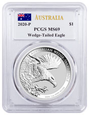 2020-P Australia 1 oz Silver Wedge-Tailed Eagle $1 Coin PCGS MS69 Mercanti Signed Flag Label