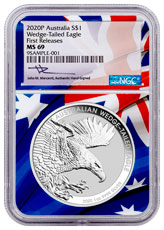 2020-P Australia 1 oz Silver Wedge-Tailed Eagle $1 Coin NGC MS69 FR Australian Flag Core Mercanti Signed Flag Label